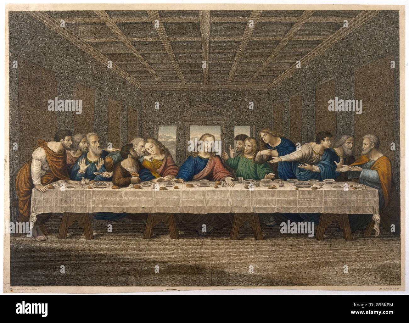 jesus christ at the last supper with his disciples stock photo