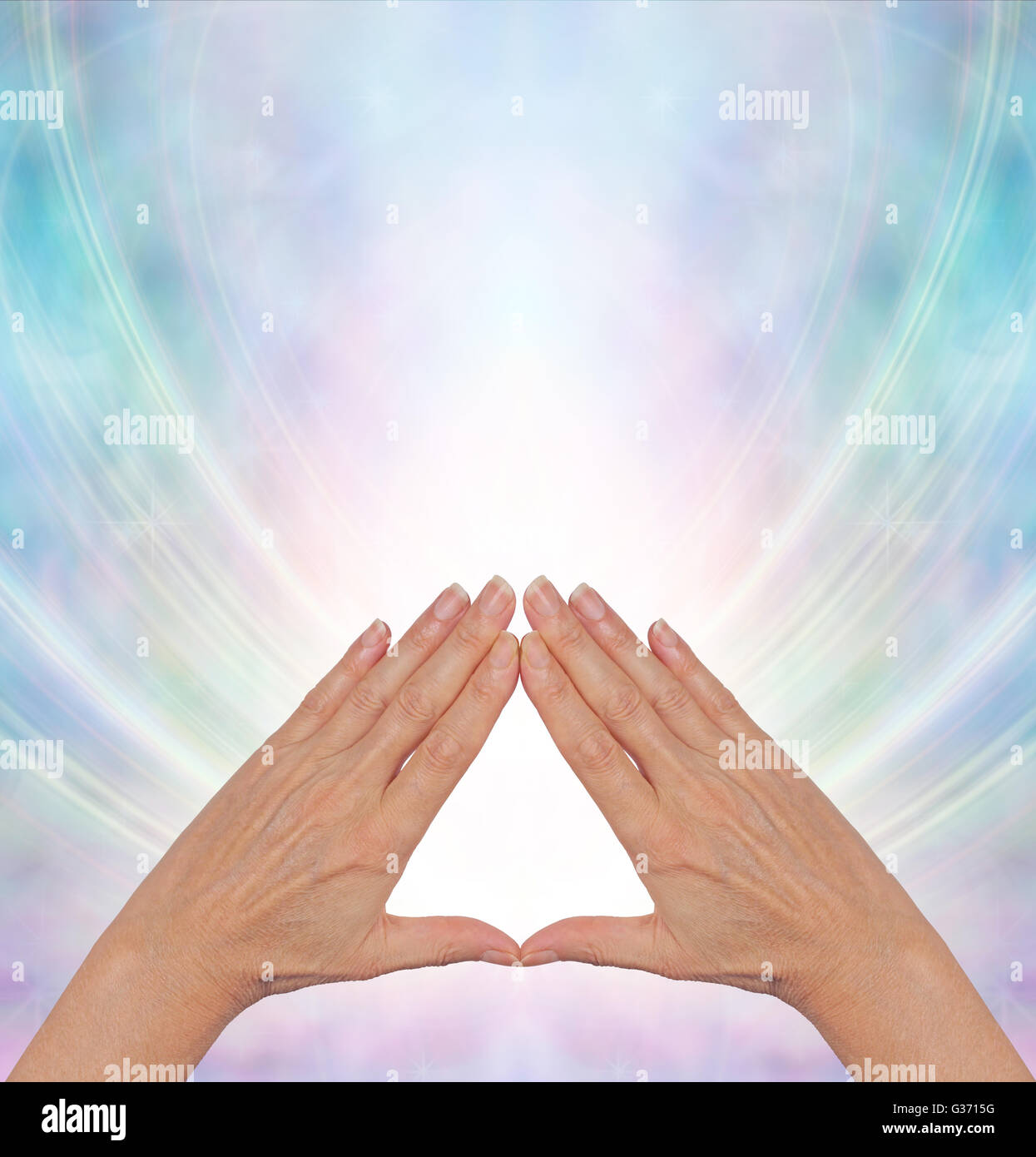 Pyramid Healing Practitioner With Hands In Triangle Shape
