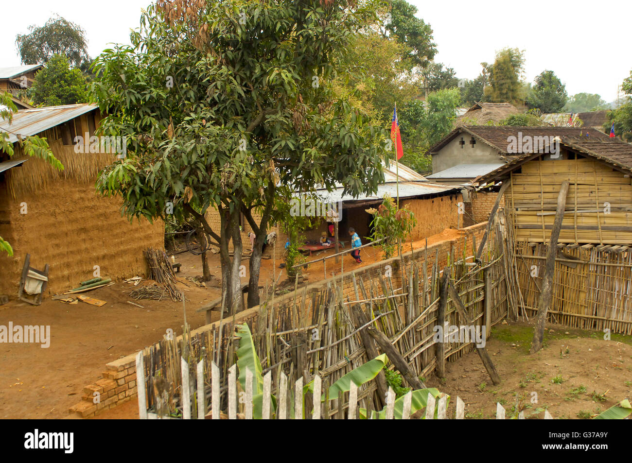 Asian myanmar people of kengtung in the house of bamboo stock image