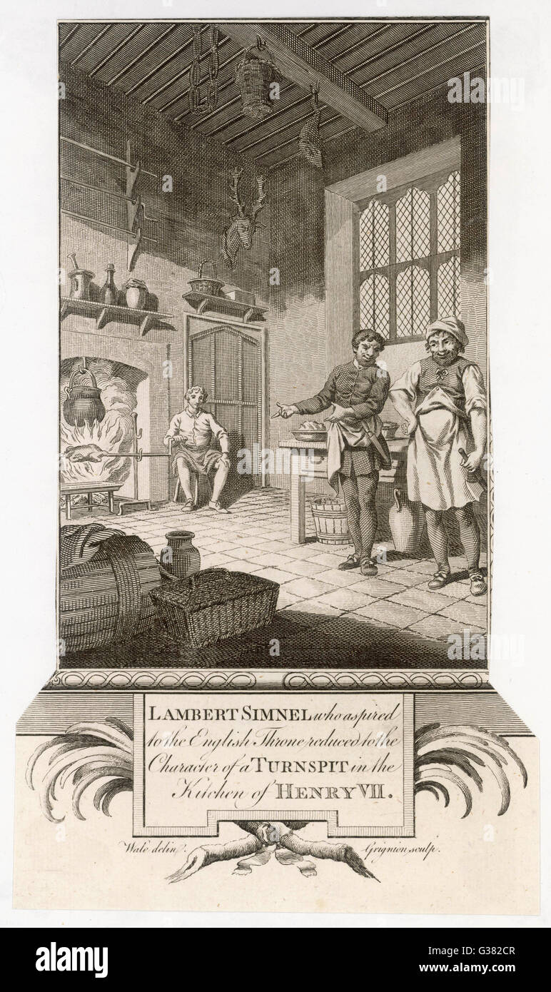 lambert simnel who aspired to the english throne reduced to the lambert simnel who aspired to the english throne reduced to the position of turnspit in the kitchen of henry vii date 1487