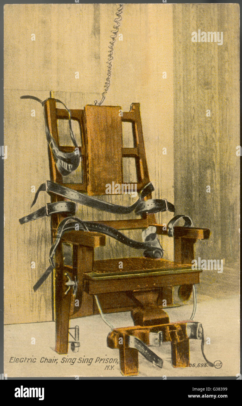 The electric chair at Sing Sing prison New York state Date Stock