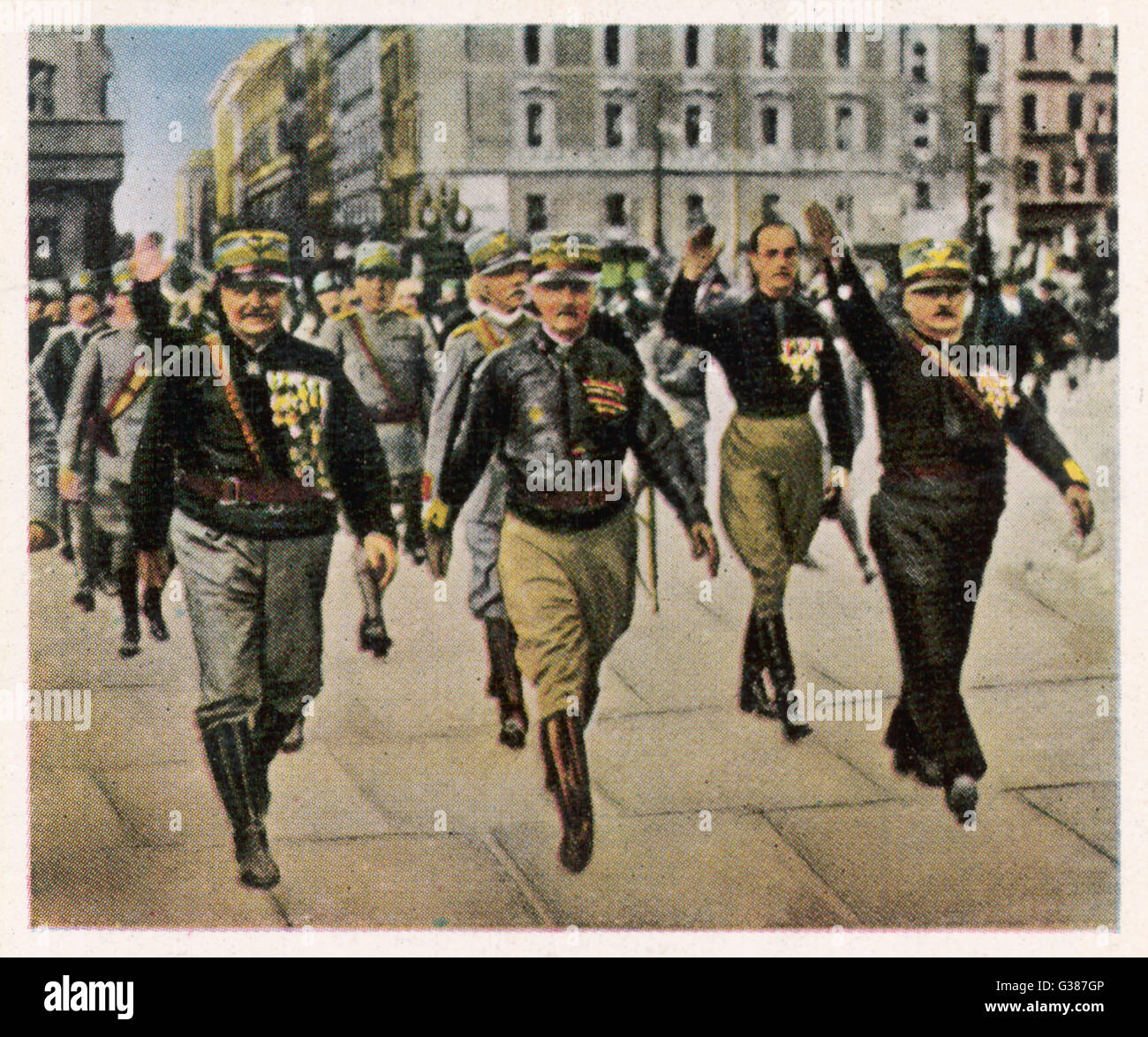 Mussolini's Blackshirts march through the streets of Rome Stock ...