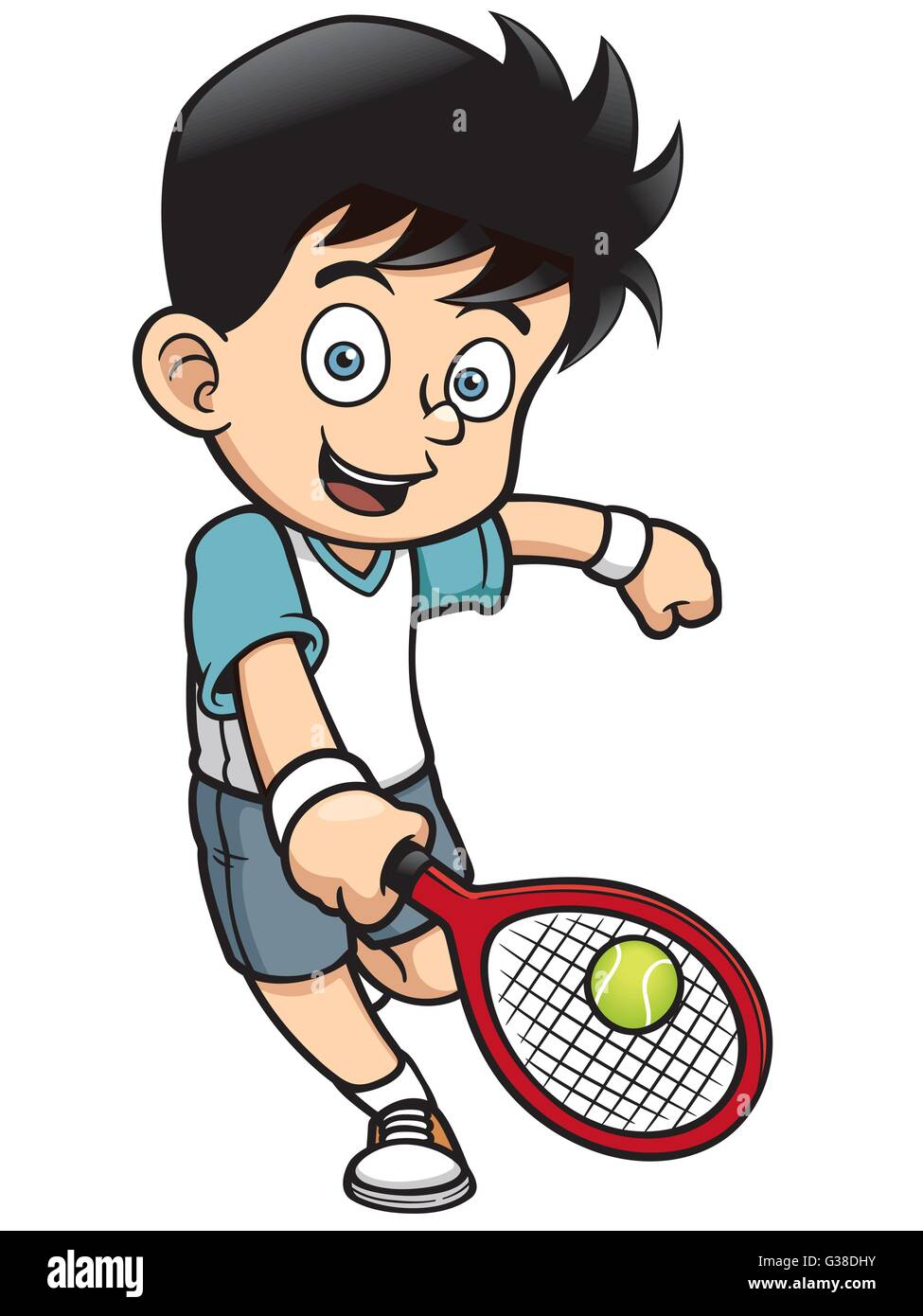 Cartoon Characters Playing Sports : Vector illustration of cartoon tennis player stock