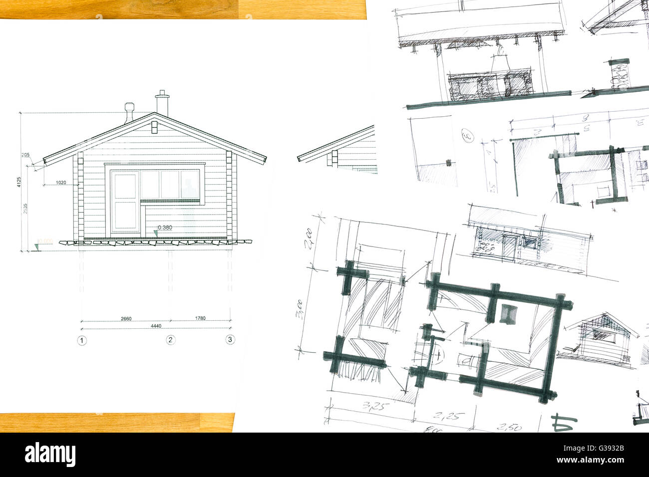 Architectural sketch drawings and blueprints for home for Renovation drawings