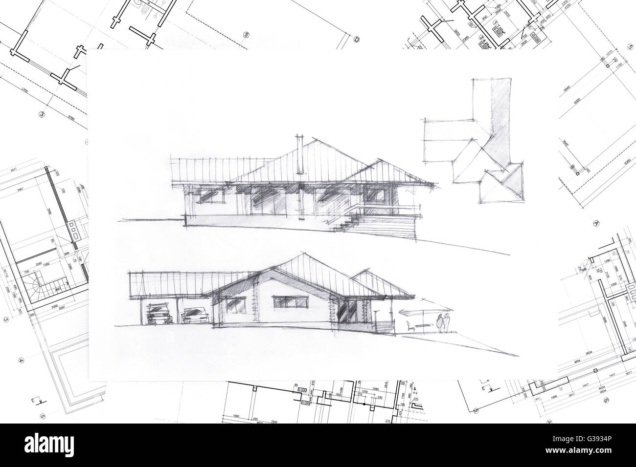 Home renovation concept with architectural hand drawing for Renovation drawings