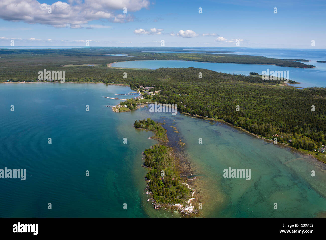Aerial view of the Baileys Harbor Yacht Club Resort and a ...