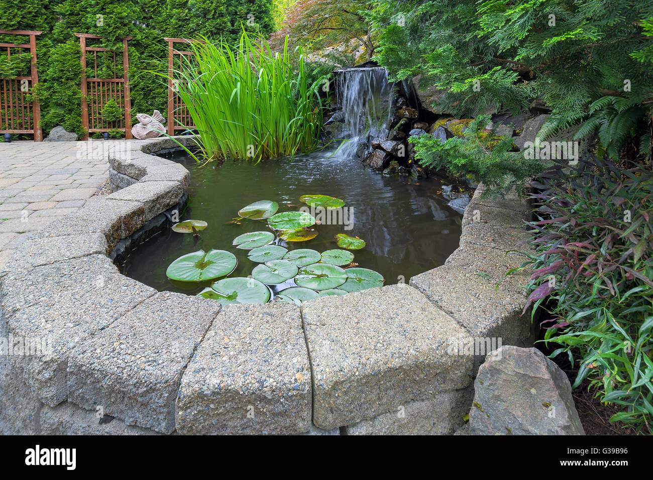 garden backyard pond with waterfall water plants brick paver patio