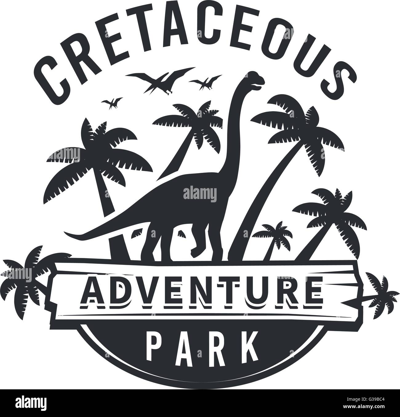 vector dinosaur logo concept brachiosaurus adventure park