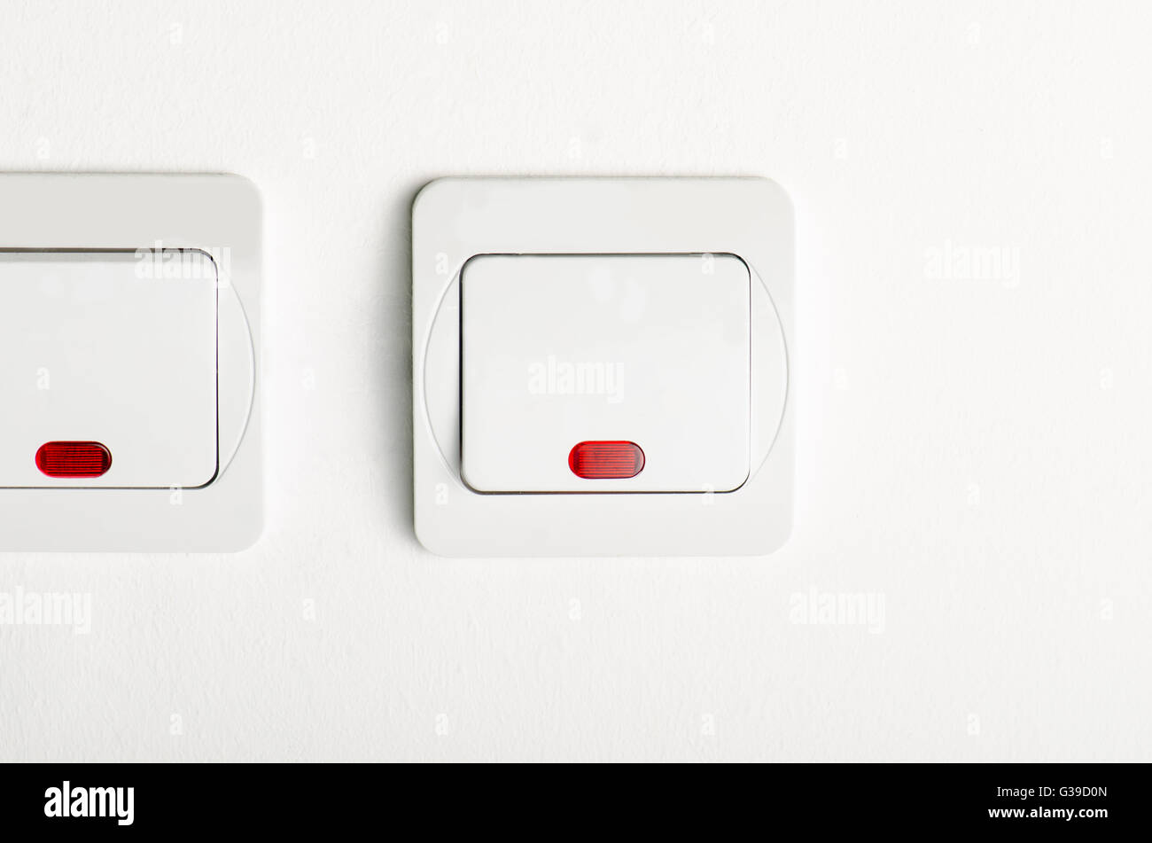 2 White light switch on/off on white wall with red led Stock Photo ... for Red Led Light Texture  11lplpg