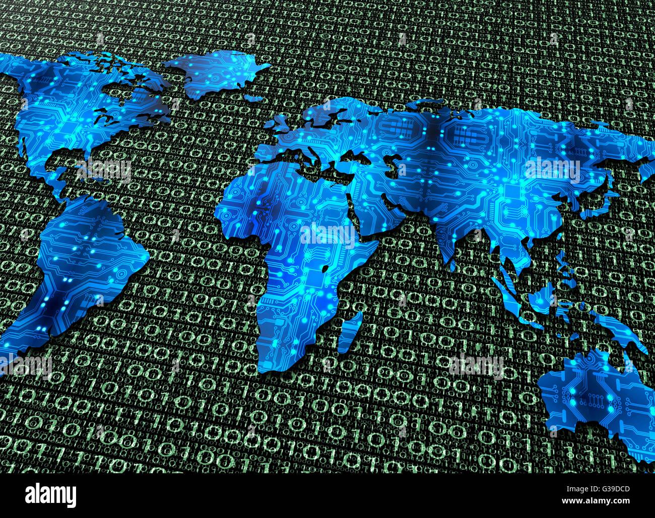 Symbol Of Global Digital World Communications, Digital Electronic Stock Photo, Royalty Free