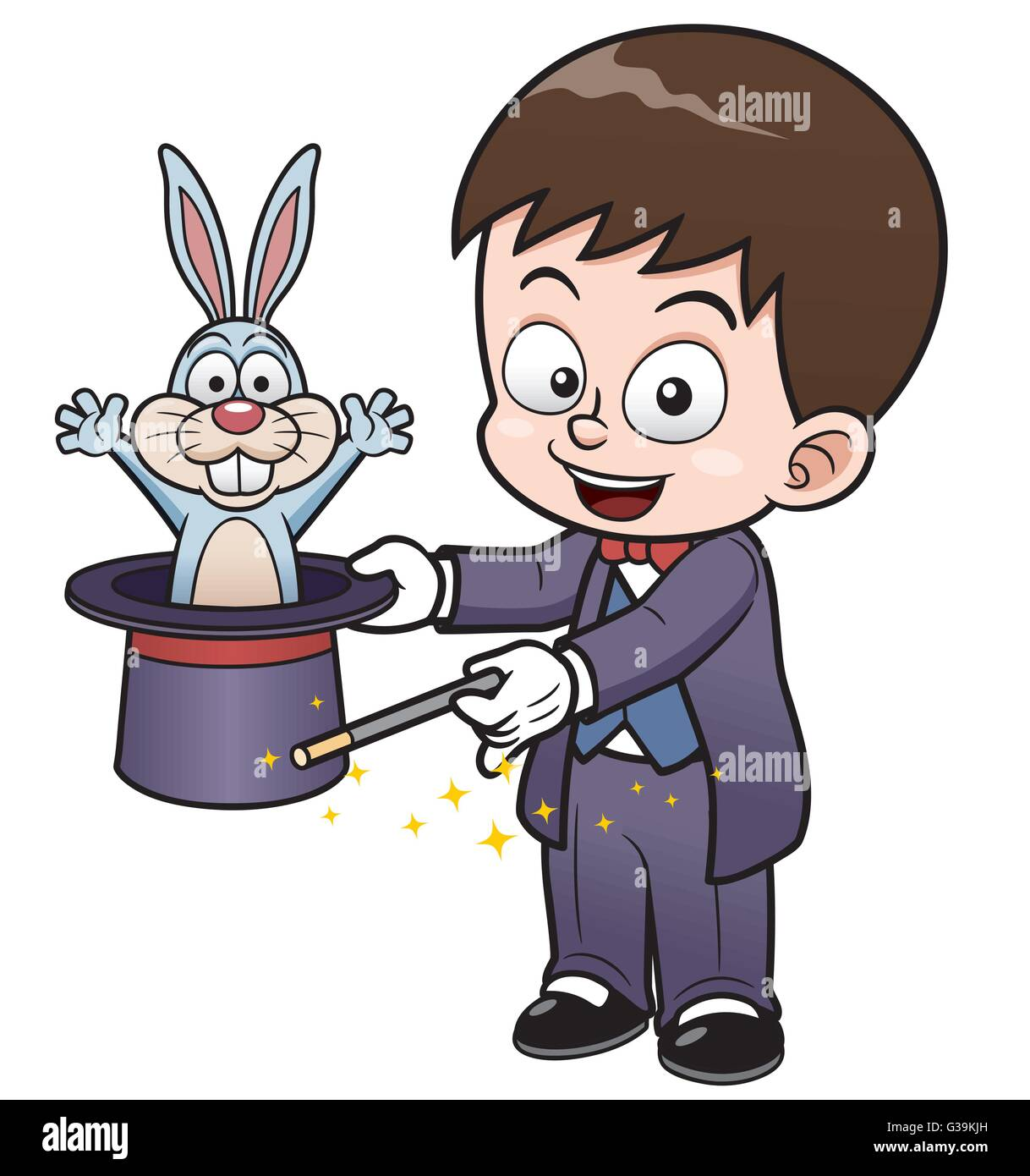 vector illustration of boy magician holding magic hat magic hat clipart black and white magic hat and rabbit clipart