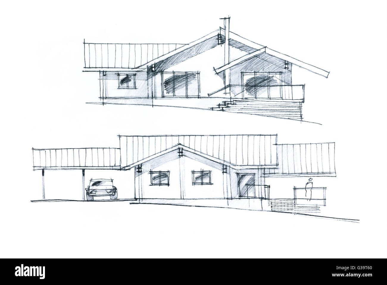 Stairs drawing related keywords amp suggestions stairs drawing - Hand Drawing Of A House Plan With Stairs And Parking Place In Two