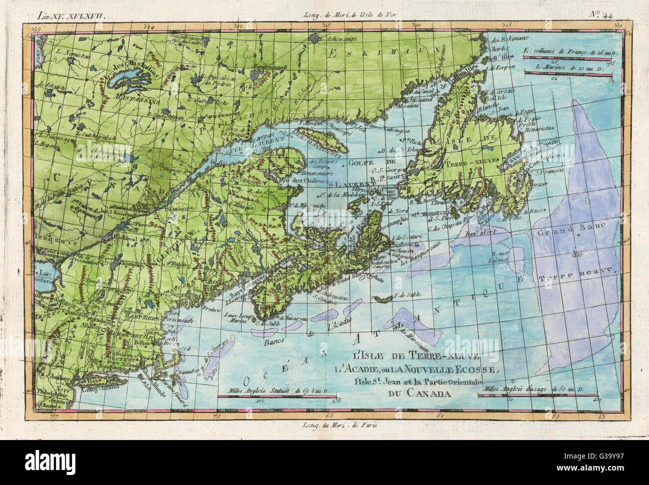 The east coast of North America from New York to Newfoundland