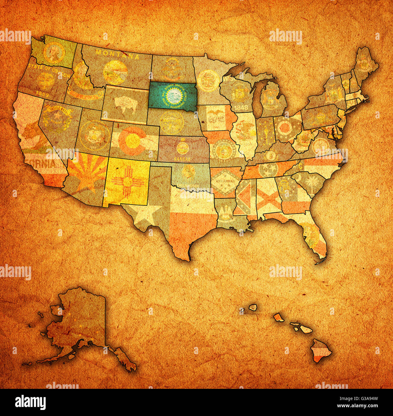 South Dakota On Old Vintage Map Of Usa With State Borders Stock - South dakota in usa map