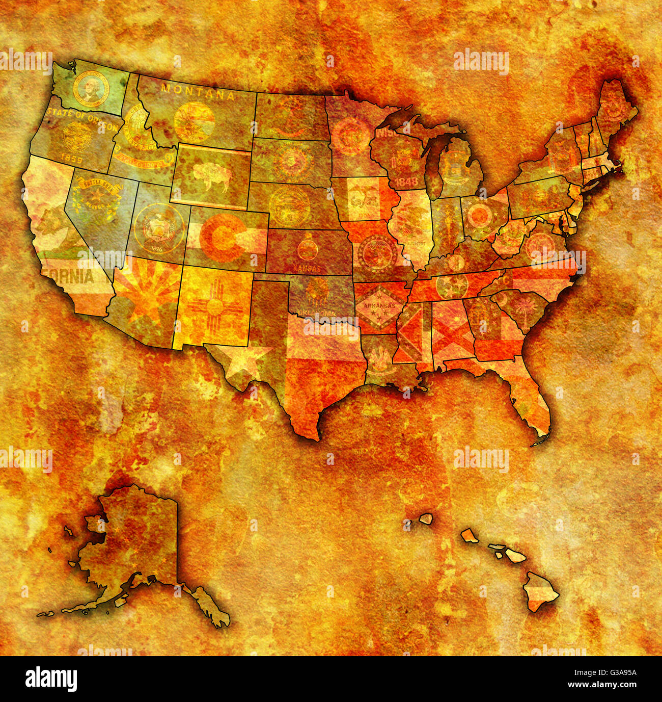 state flags on old vintage map of usa with state borders