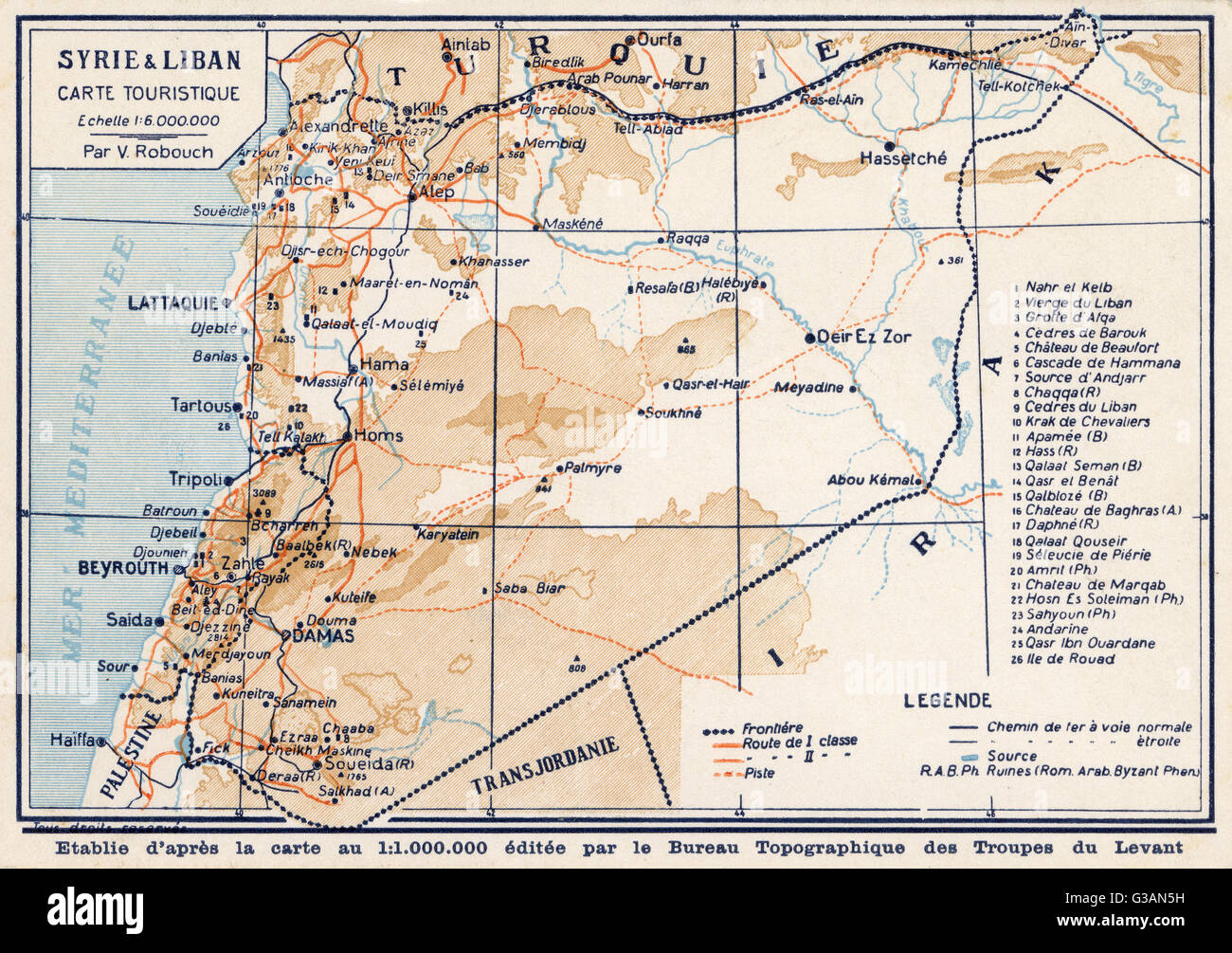 Syria and lebanon tourist map date circa 1910s stock photo syria and lebanon tourist map date circa 1910s sciox Gallery