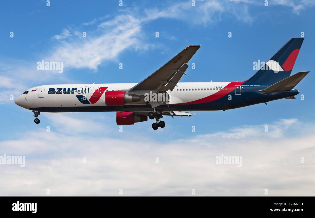 An Azur Air Boeing 767300er Approaching To El Prat Airport In Barcelona,  Spain