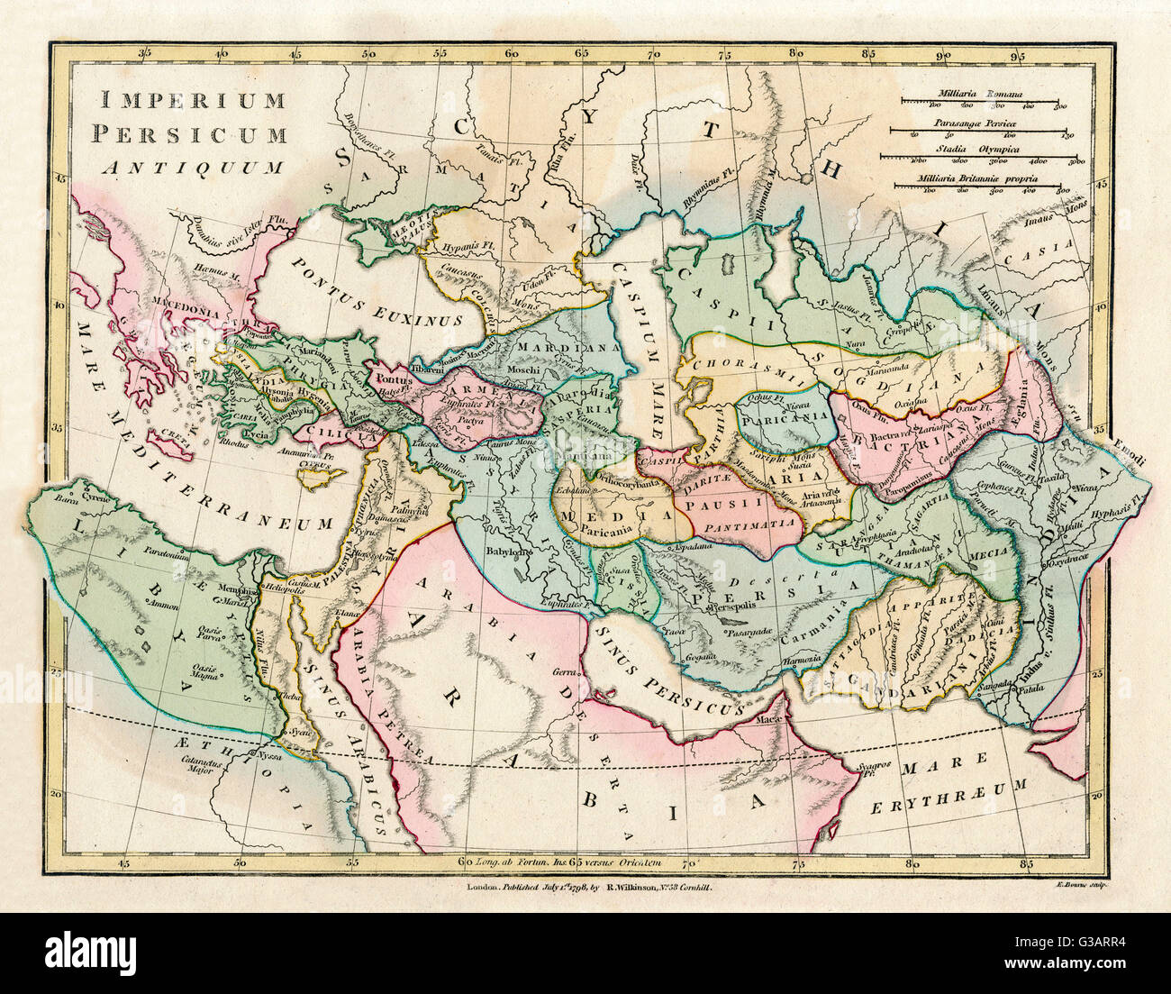 map of the ancient persian empire encomping greece to the north west arabia to the south east egypt and libya to the south west and deep in the