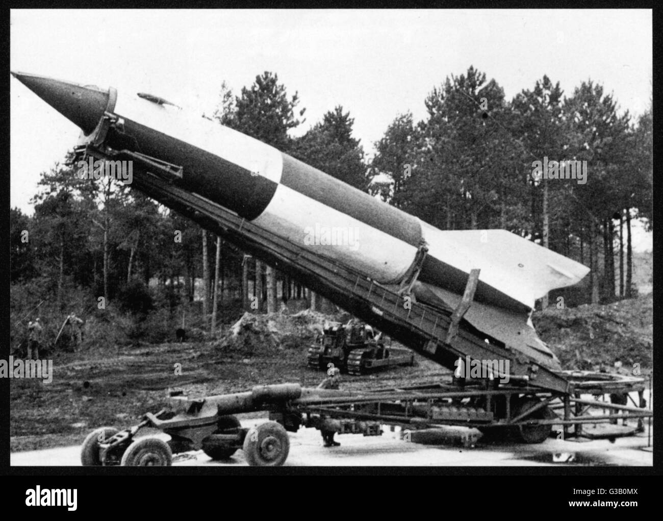 A V2 rocket on the launch pad. More elaborate than the V1 ...
