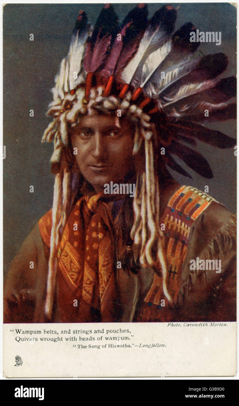 the song of hiawatha stock photos the song of hiawatha stock iroquois chief wearing a feathered headdress to illustrate longfellow s song of hiawatha date 1905