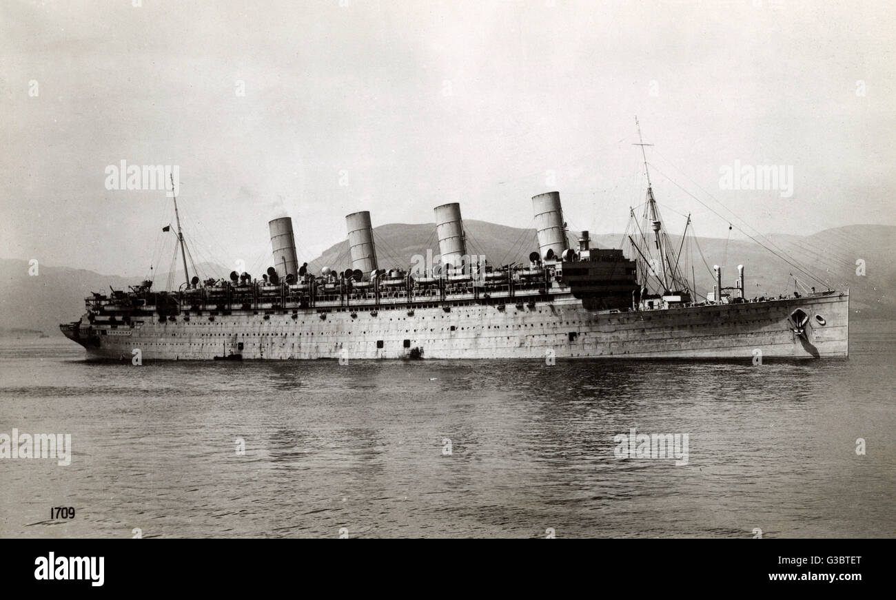 RMS Aquitania Cunard Line Cruise Ship Seen Here In War Paint - First cruise ship in the world