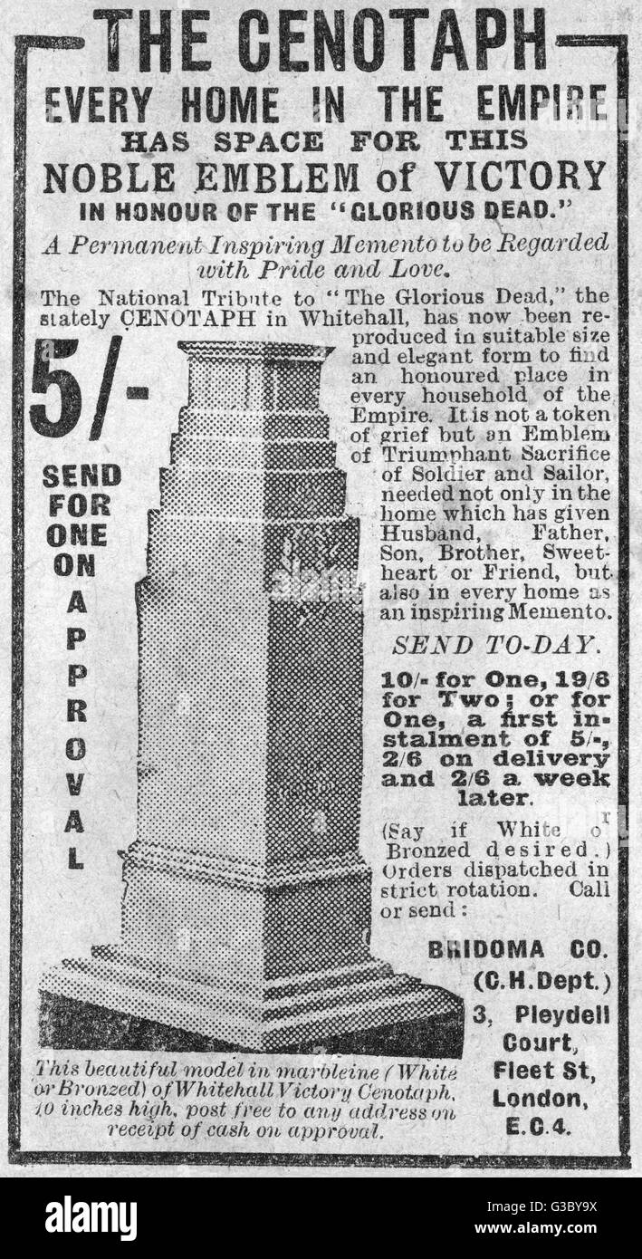 A 10 inch high do it yourself marbleine model of the whitehall a 10 inch high do it yourself marbleine model of the whitehall cenotaph for the home in honour of the glorious dead date 1919 solutioingenieria Images