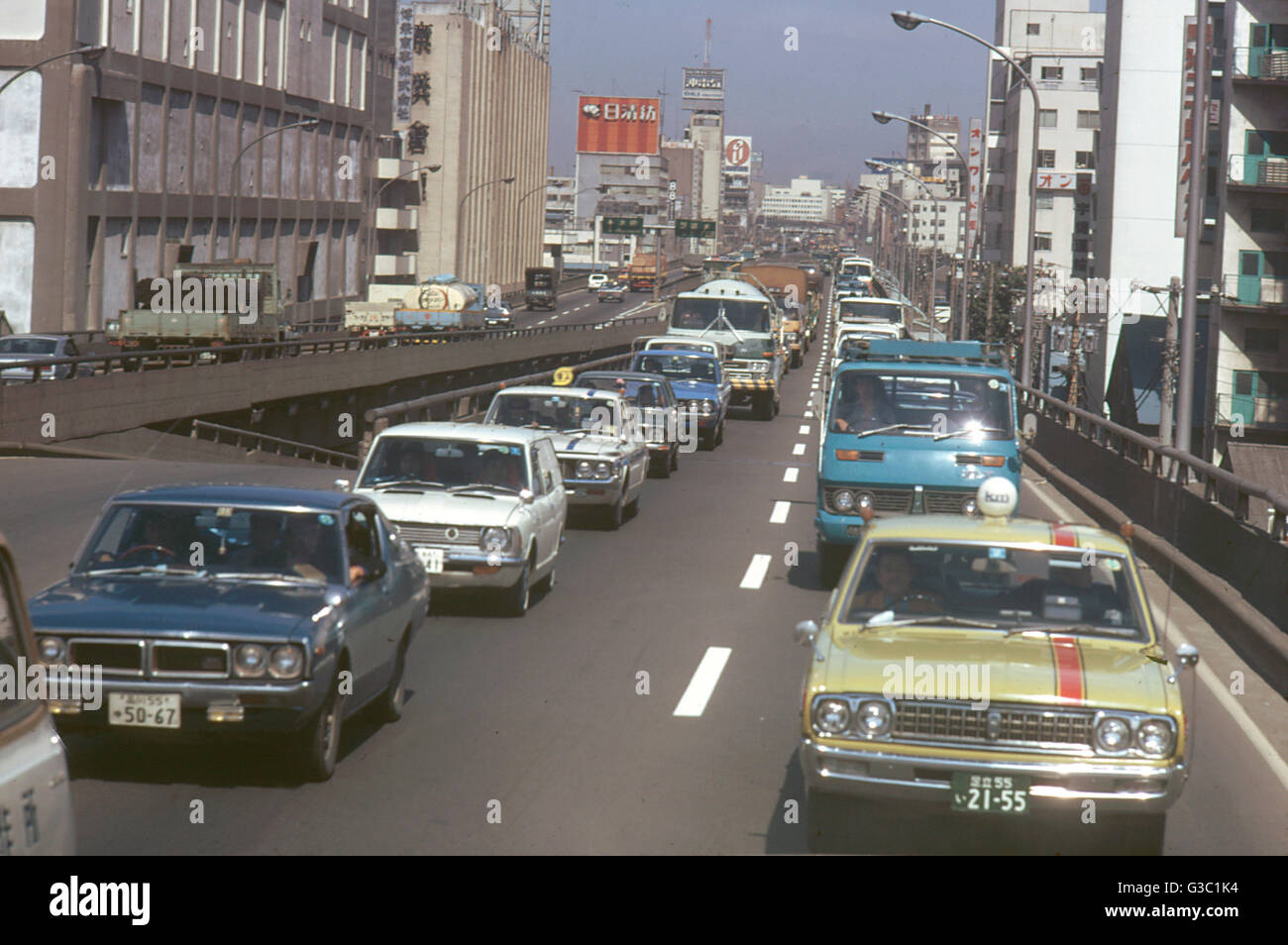 Road full of traffic leading to the airport, Tokyo, Japan. Date Stock Photo, Royalty ...