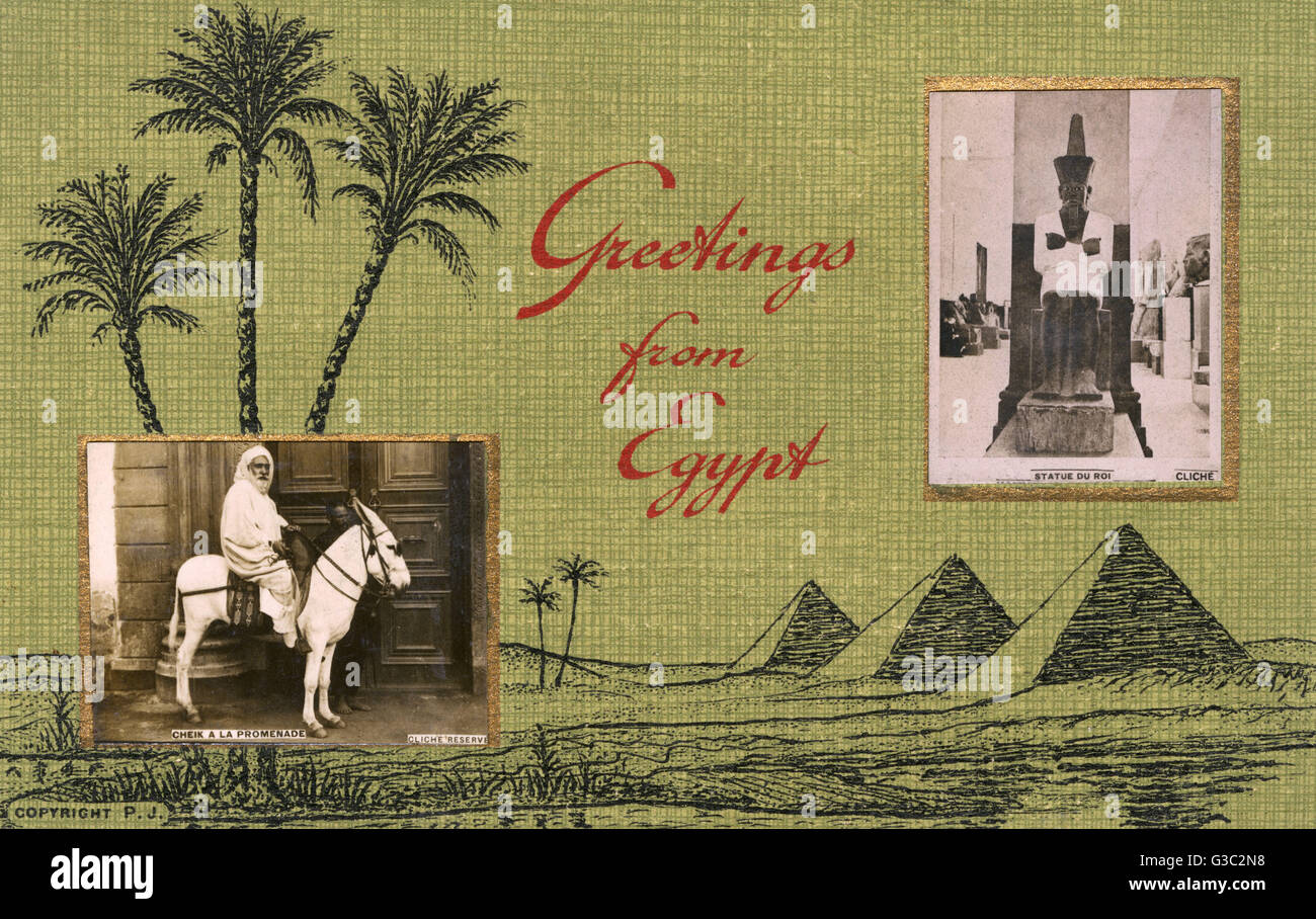Greetings from egypt featuring inset photographs of a pharoah greetings from egypt featuring inset photographs of a pharoah statue and a sheik on a white mule date circa 1910s kristyandbryce Choice Image