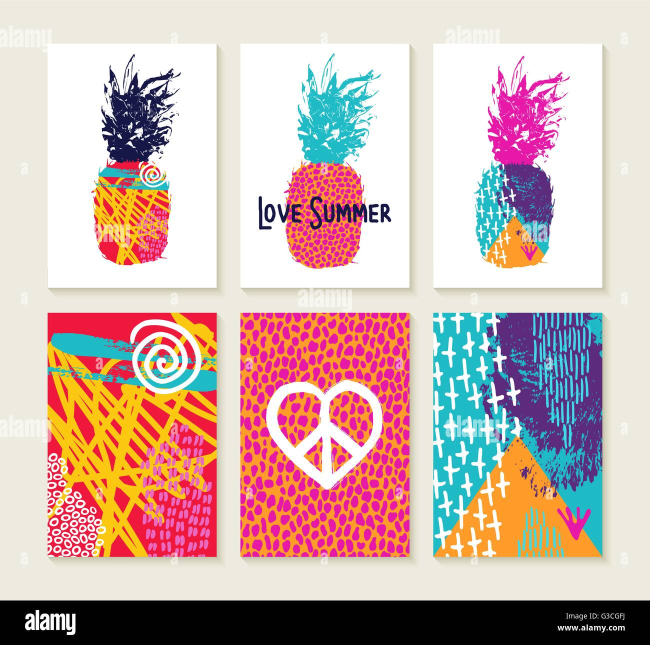 80s Designs set of happy colorful summer greeting card designs with 80s style