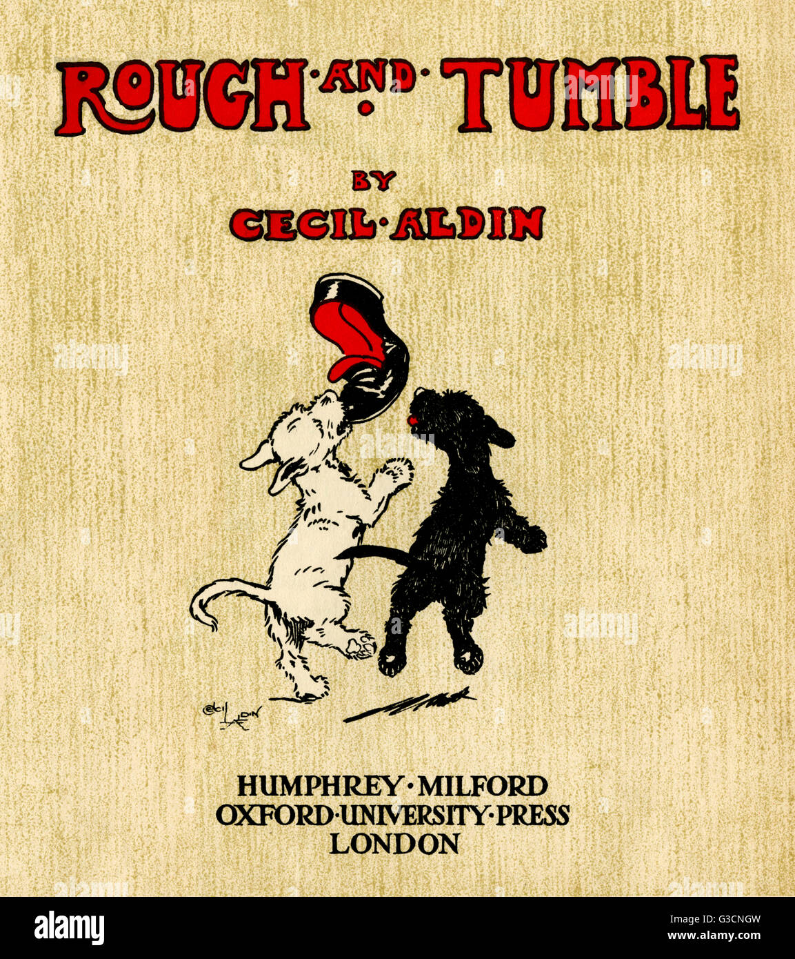 title page design by cecil aldin rough and tumble showing two title page design by cecil aldin rough and tumble showing two scots terriers one white rough and one black tumble playing their master s