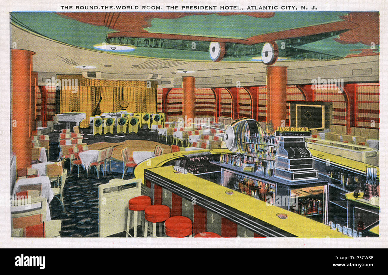 Interior the round the world room the president hotel atlantic city new jersey usa with a stage area for a band tables and chairs and stools round a