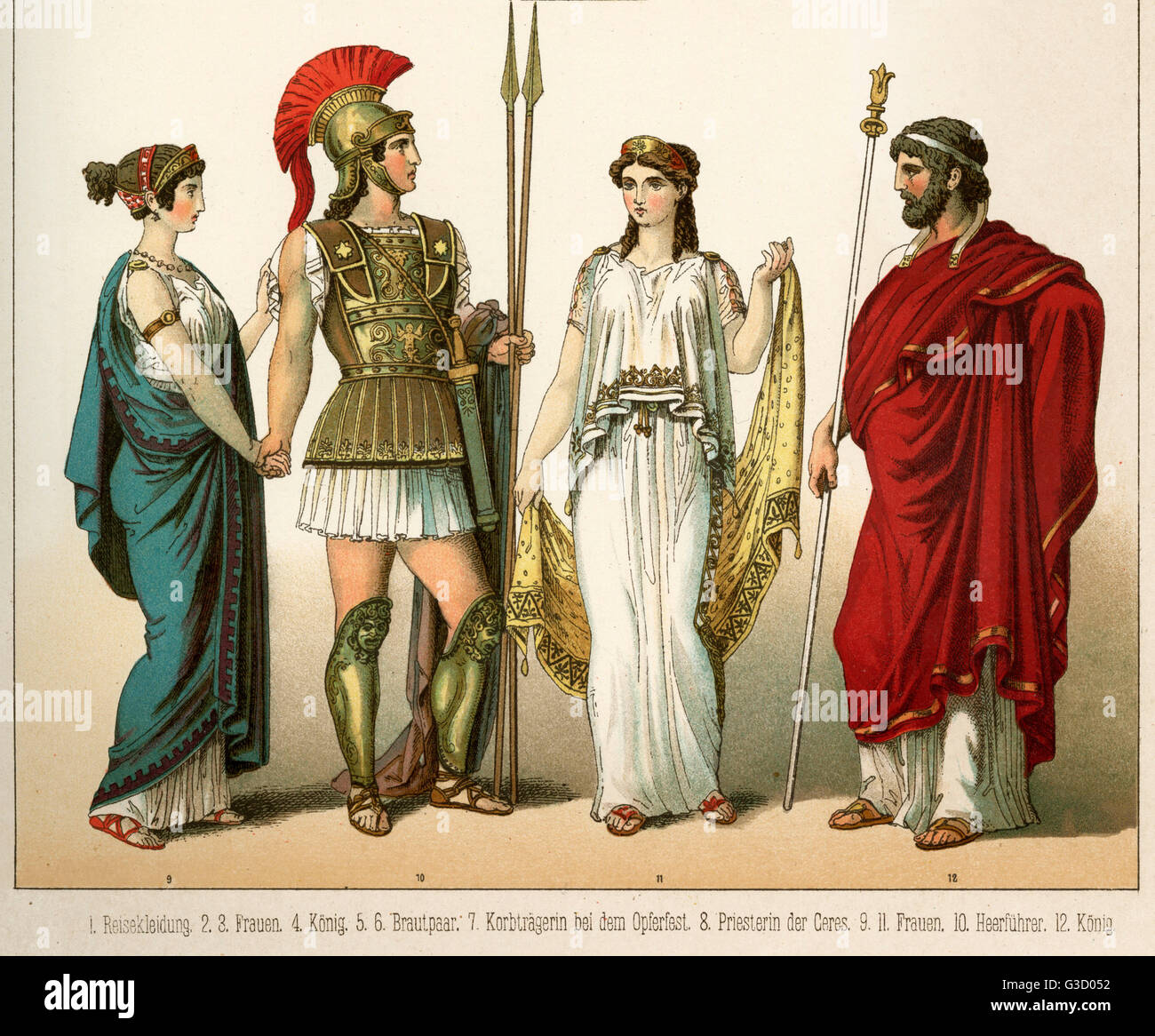 Ancient Greece Costume, Wearing Chiton, Warrior With Armour And Stock Photo, Royalty Free Image