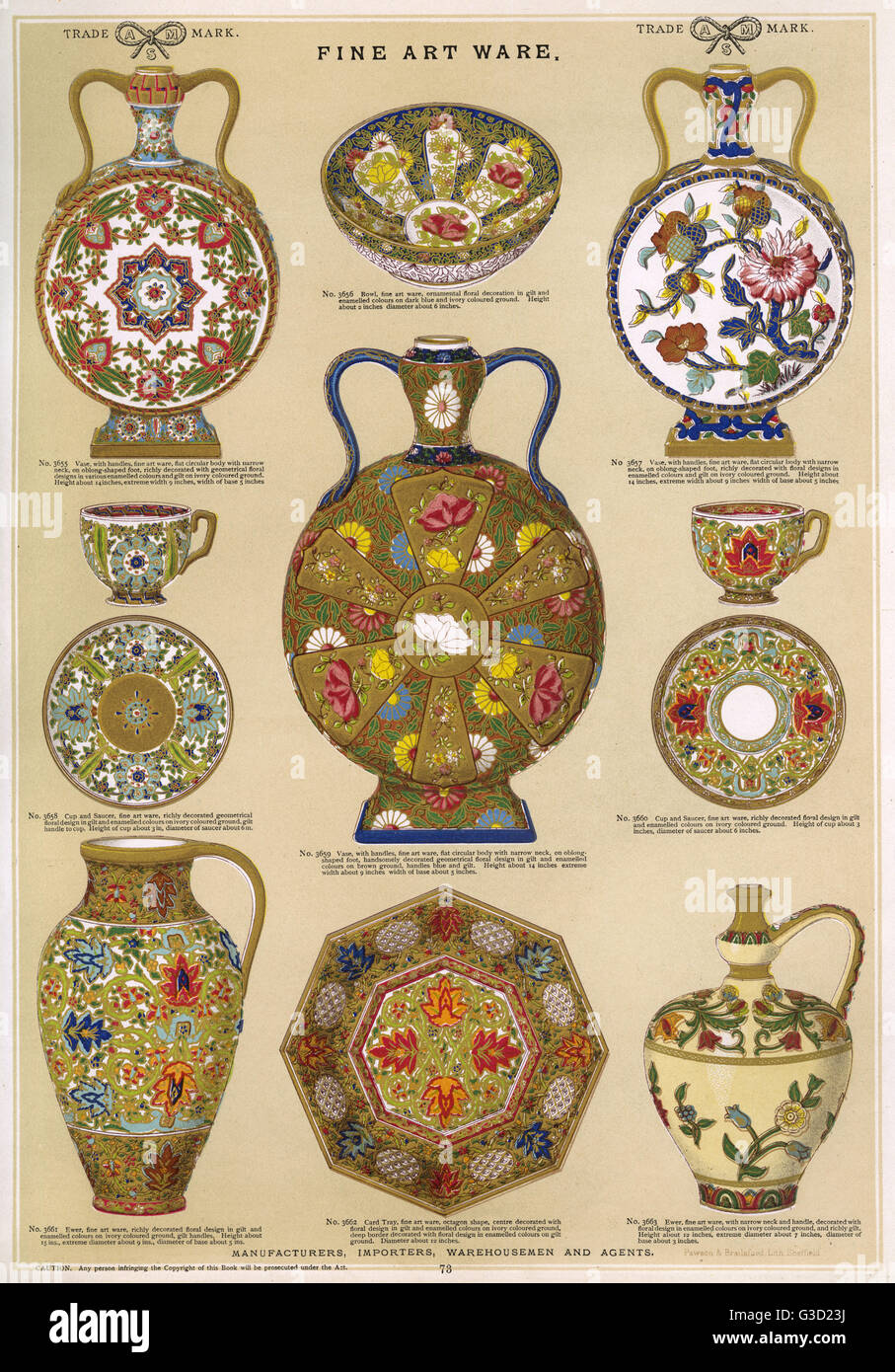 Fine Art Ware Plate 73 showing ornately decorated plates jugs pots vases saucers cups and a bowl. Date circa 1880s  sc 1 st  Alamy & Fine Art Ware Plate 73 showing ornately decorated plates jugs ...