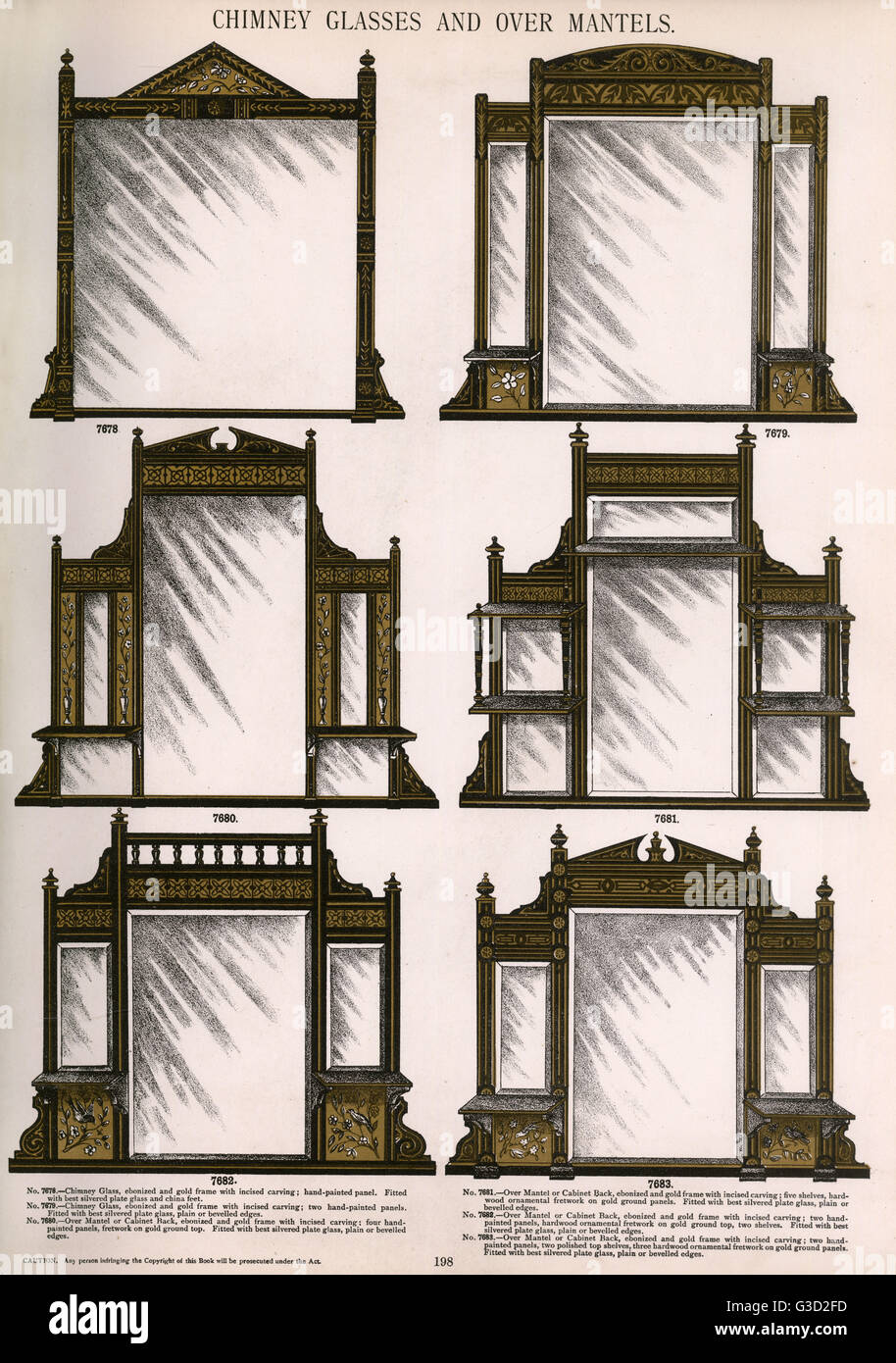 Chimney glasses and over mantels, Plate 198, showing a range of ...