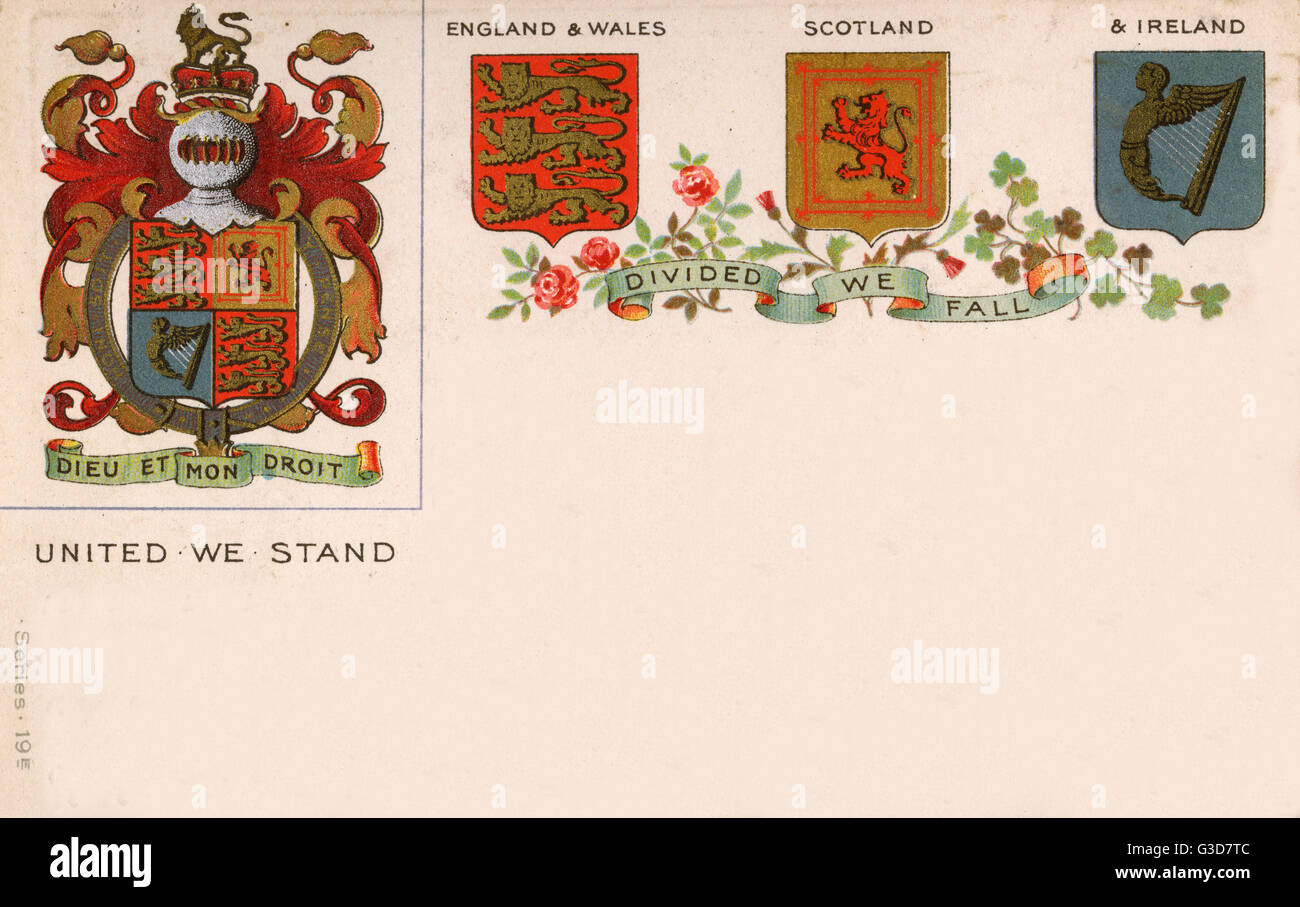 The coat of arms of the united kingdom and separate shields for the coat of arms of the united kingdom and separate shields for england and wales scotland and ireland all of ireland at this point date circa 1900 buycottarizona