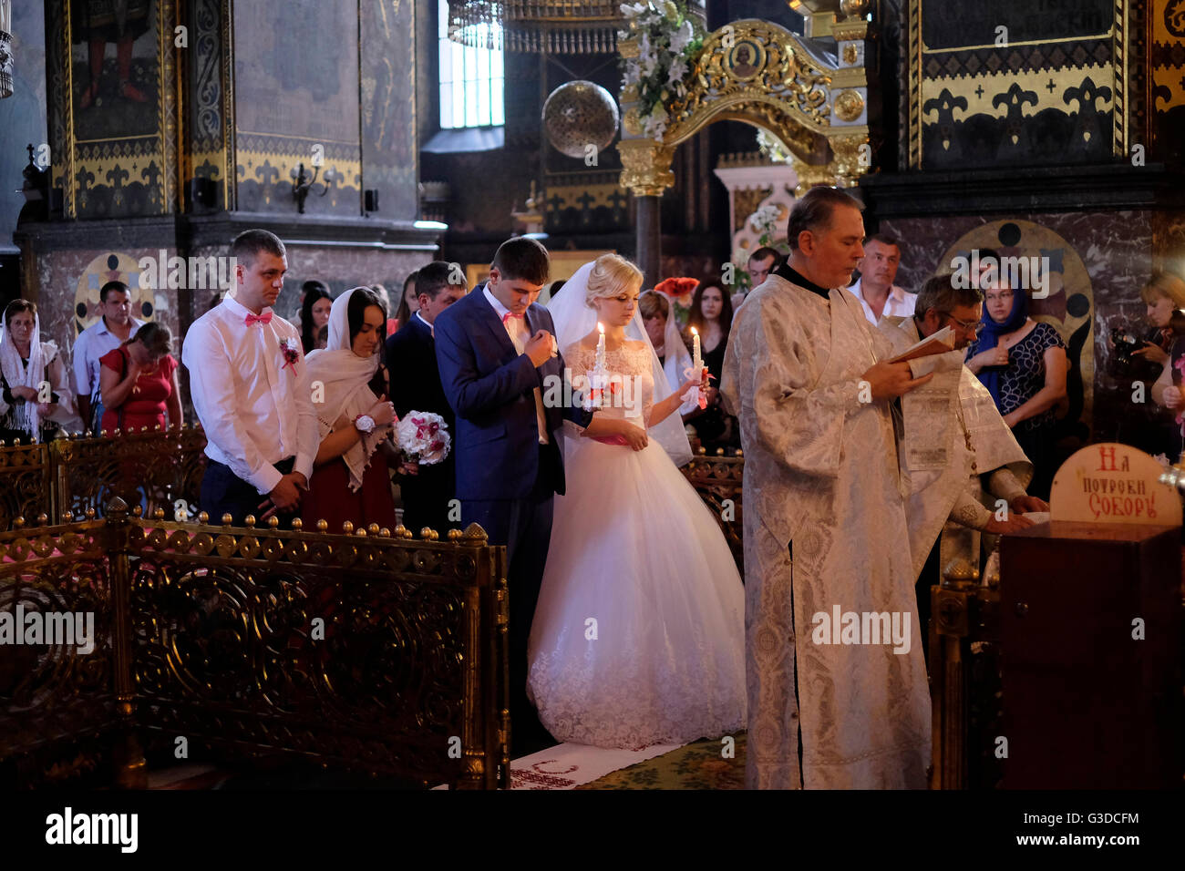 An Eastern Orthodox Church Wedding Inside St Volodymyrs Cathedral In The Centre Of Kiev Ukraine