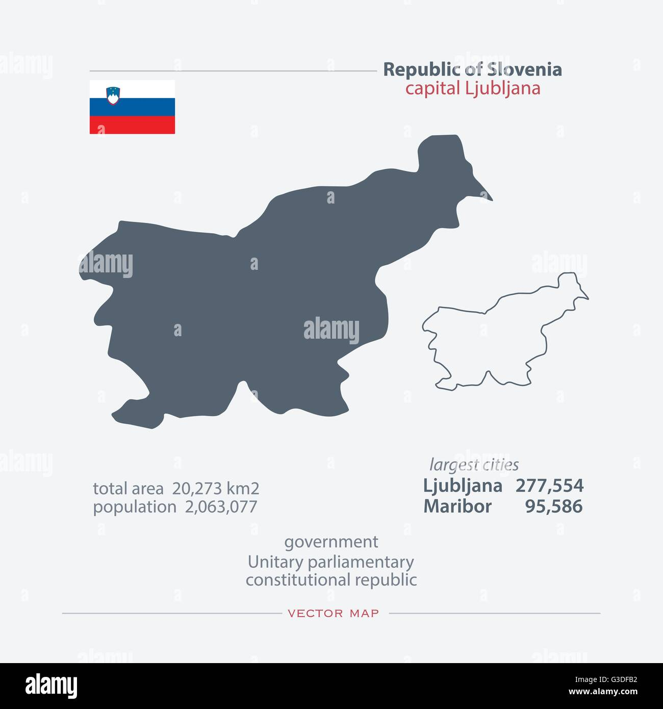 Republic Of Slovenia Isolated Maps And Official Flag Icon Vector - Republic of slovenia map