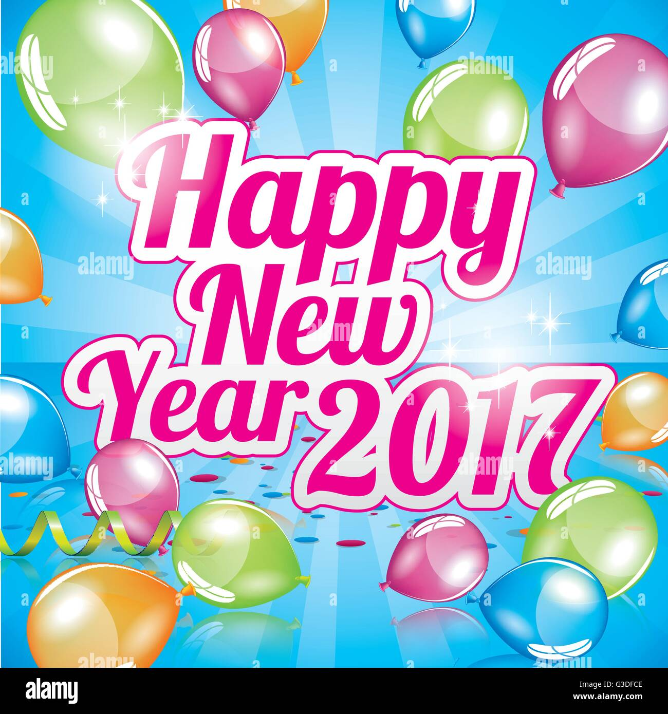 Happy New Year 2017 greeting card full vector Stock Vector Art ...