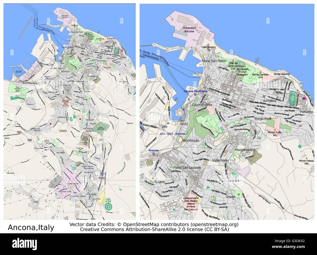 Ancona Italy City Map Stock Vector Art Illustration Vector - Map of ancona italy
