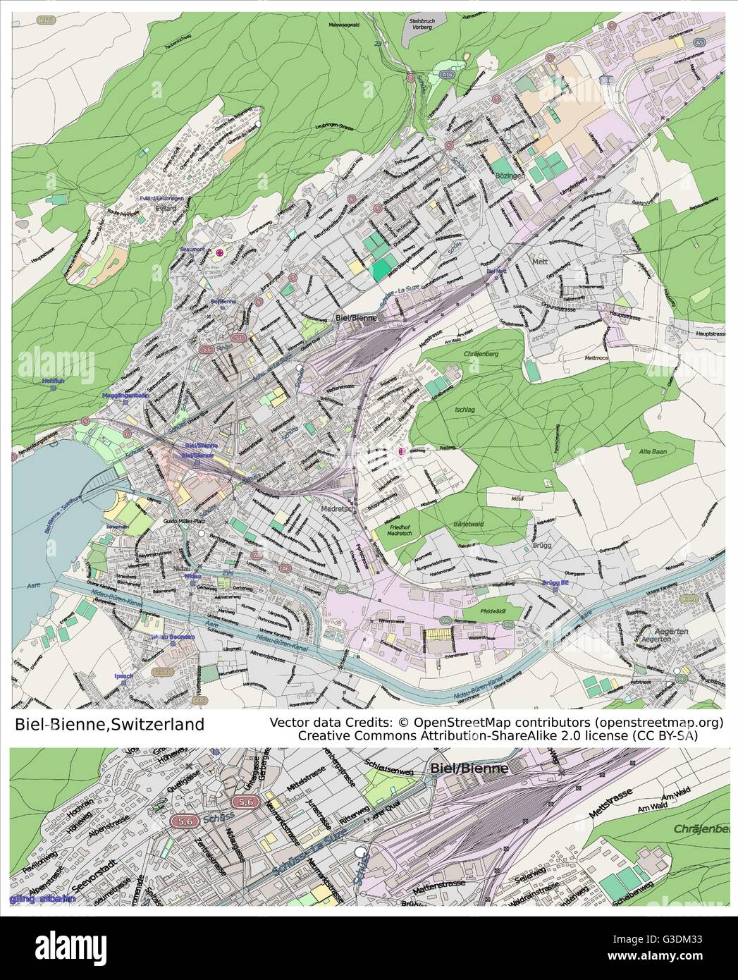 BielBienne Switzerland city map Stock Vector Art Illustration