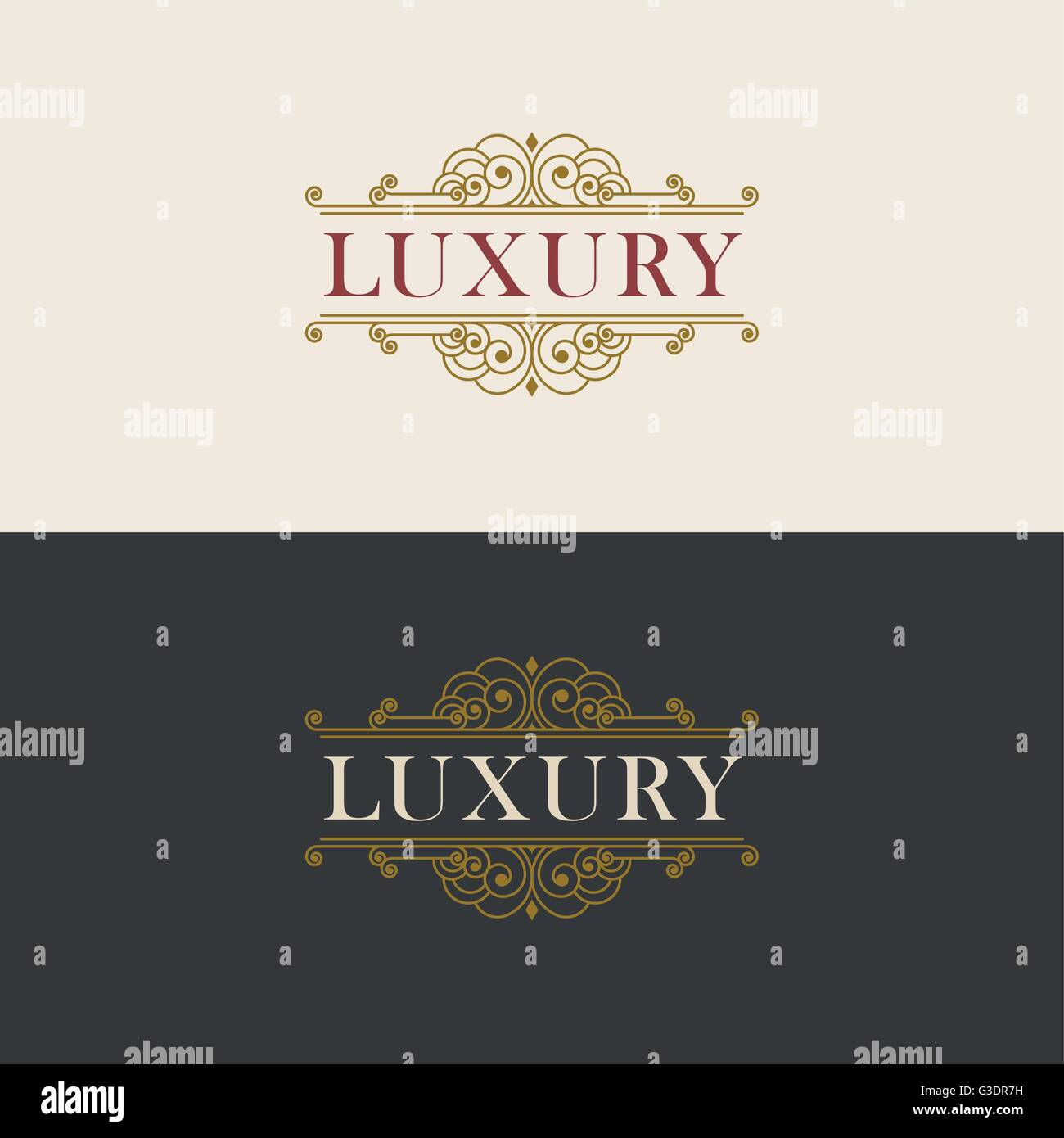 Vector luxury elegant frame ornament line logo design. Monogram ...