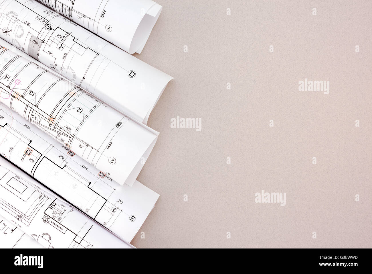 Architect workspace with rolls of blueprints and house plans top architect workspace with rolls of blueprints and house plans top view malvernweather Images