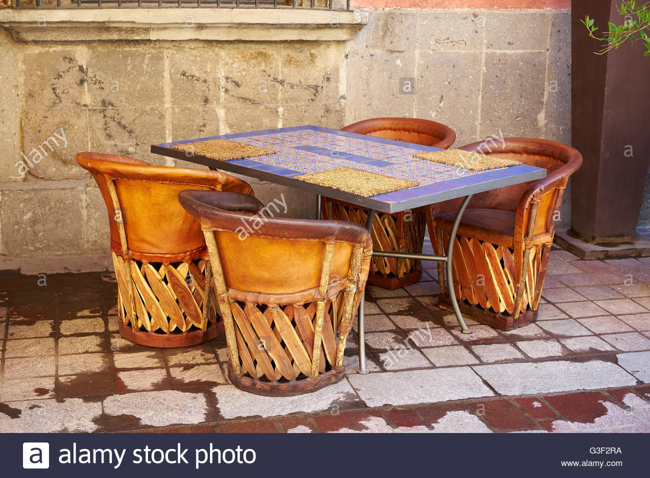 Stock Photo   Tlaquepacque, Guadalajara, Mexico. Equipal Chairs Are Made In  This Area From Wood And Leather And Symbolize The State Of Jalisco