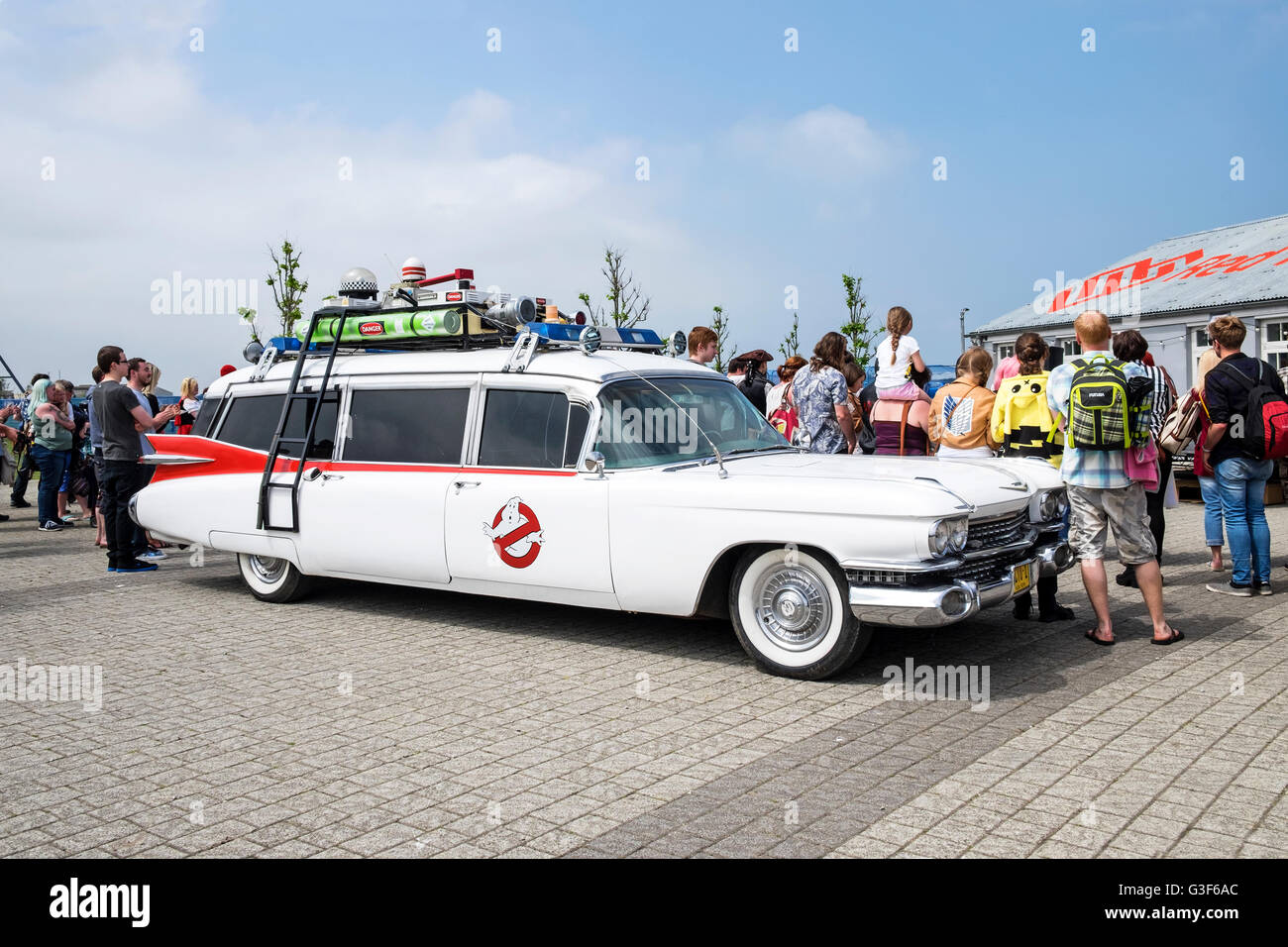 A replica of ecto 1 the cadillac used in the original ghostbusters movie