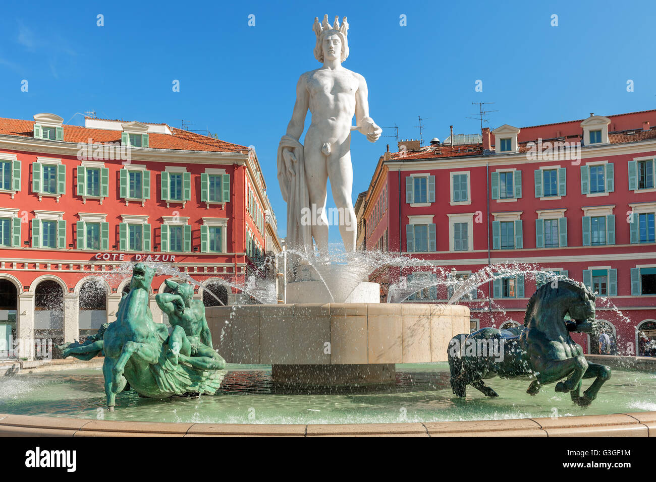 Fountain of the sun fontaine du soleil on place massena in nice stock photo royalty free - Place massena nice ...