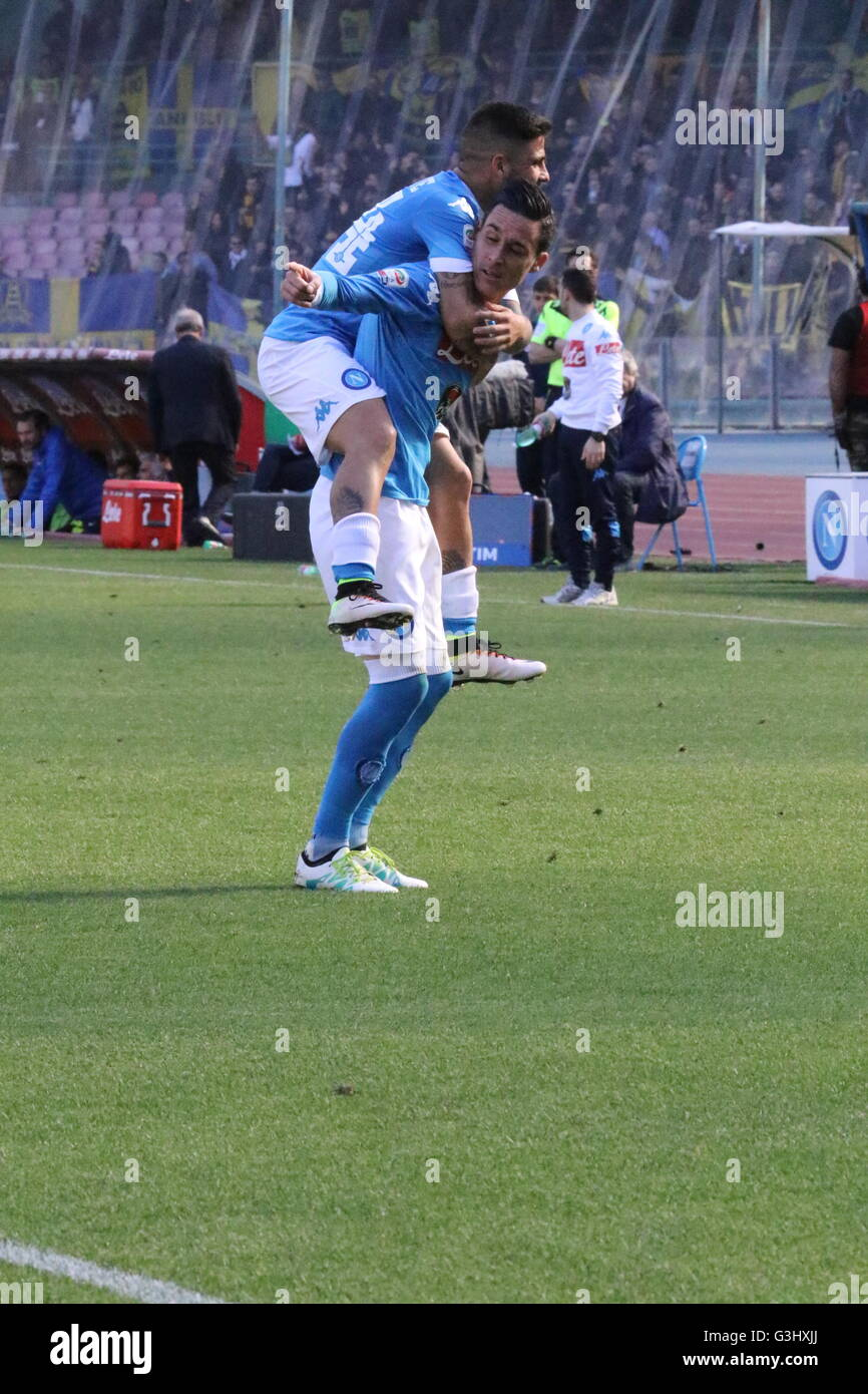 Lorenzo Insigne and José Mar­a Callej³n SSC Napoli during soccer