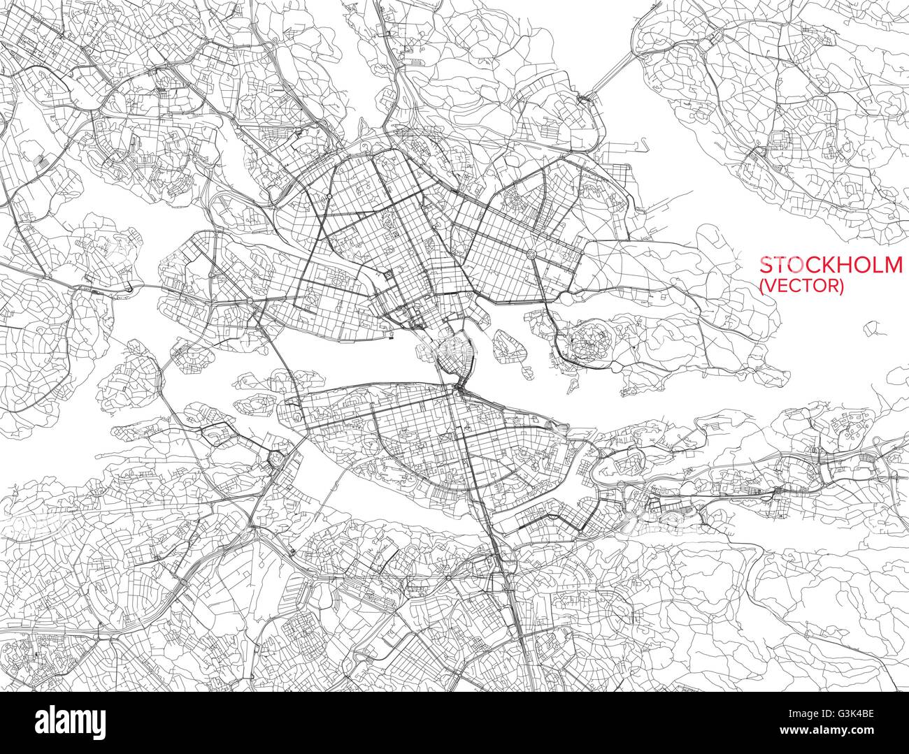Stockholm Map Satellite View Sweden Stock Vector Art - Sweden map search