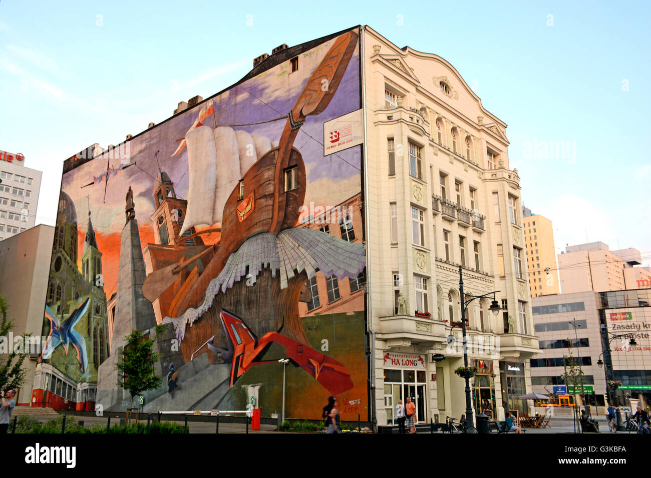 Mural frresco on the wall of a building lodz poland stock for Mural on building