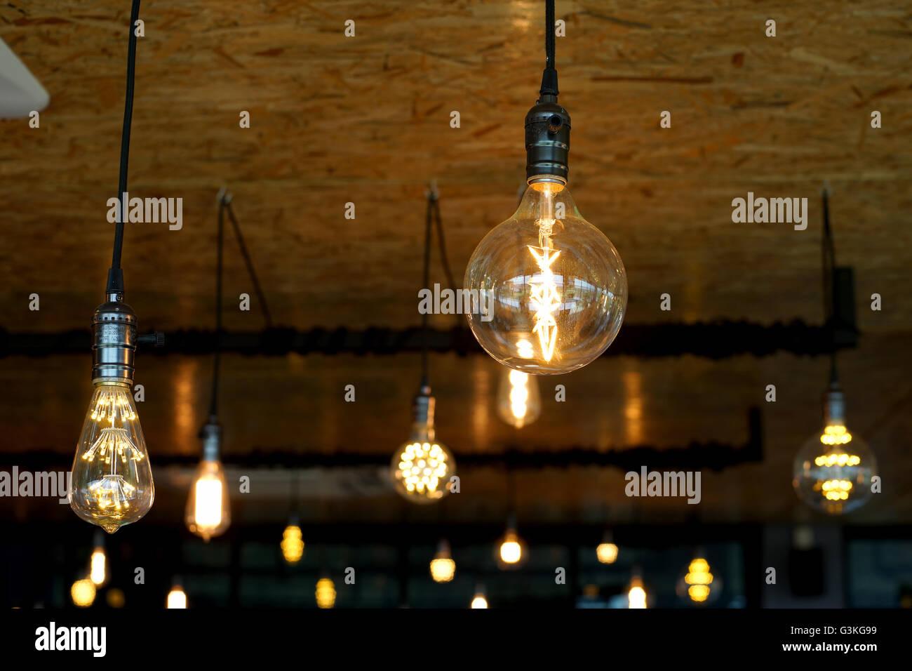 Decorative antique tungsten light bulbs hanging on ceiling stock decorative antique tungsten light bulbs hanging on ceiling aloadofball Choice Image