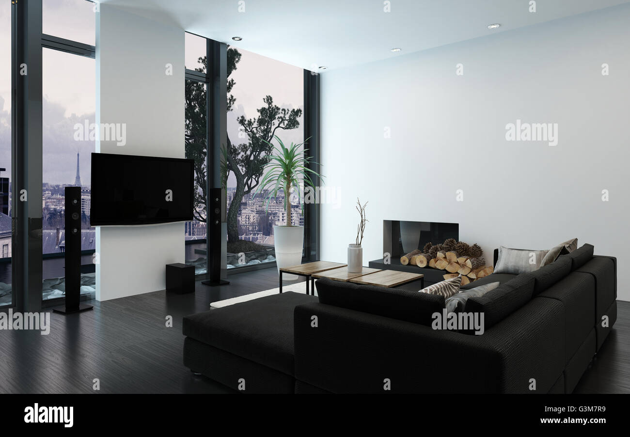 Luxury Condo With Contemporary Couch And Bare Wall Fireplace By Woodpile Floor To Ceiling Windows 3d Rendering